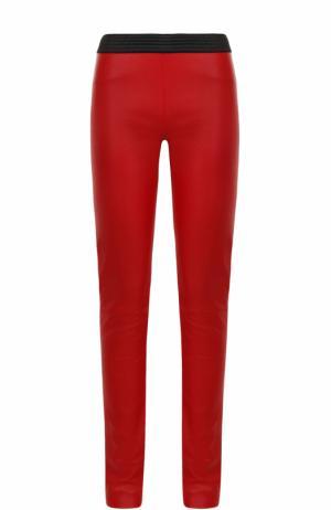 Кожаные брюки-скинни с контрастным поясом DROMe. Цвет: красный