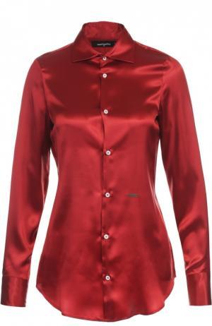 Шелковая приталенная блуза Dsquared2. Цвет: красный