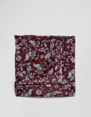 ASOS Бордовый платок для нагрудного кармана с узором. Цвет: красный