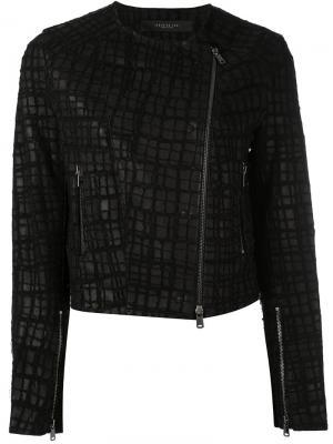 Байкерская куртка с вышивкой Federica Tosi. Цвет: чёрный