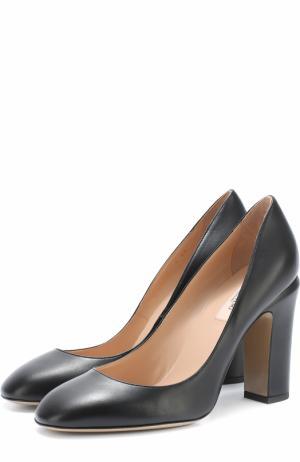 Кожаные туфли Tan-Go на устойчивом каблуке Valentino. Цвет: черный