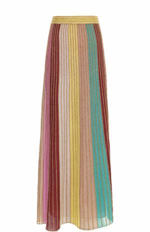Плиссированная юбка-макси в полоску M Missoni. Цвет: зеленый