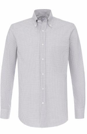 Хлопковая рубашка с воротником button down Loro Piana. Цвет: коричневый