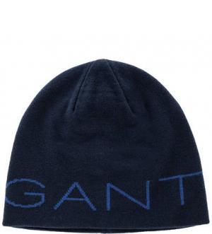Синяя шапка с логотипом бренда Gant. Цвет: синий