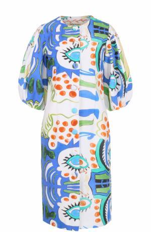 Приталенное платье с рукавом-фонарик и принтом Tata Naka. Цвет: разноцветный