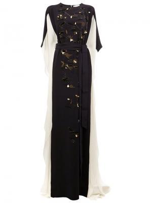 Платье с вышивкой Oscar de la Renta. Цвет: чёрный