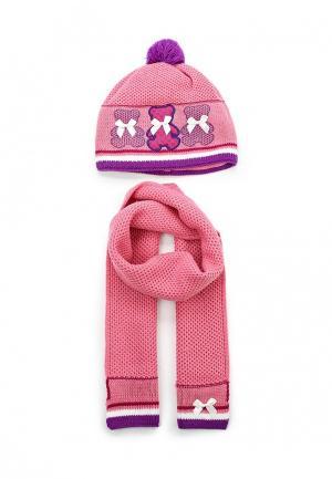 Комплект шапка и шарф Maxval. Цвет: розовый