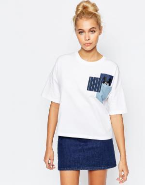 Mini Cream Кремовый укороченный топ с джинсовыми карманами. Цвет: белый