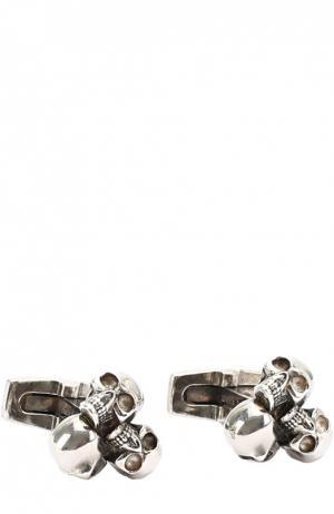Запонки с тремя черепами Alexander McQueen. Цвет: серебряный
