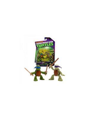 Фигурка Черепашки-ниндзя Лео и Дон юные мутанты Playmates toys. Цвет: зеленый, коричневый, фиолетовый, синий