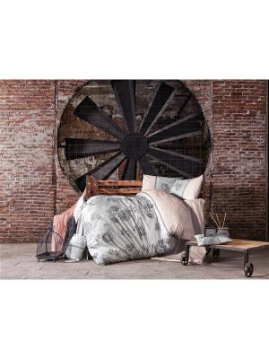 Комплект постельного белья MUNA ранфорс, 145ТС, евро ISSIMO Home. Цвет: серо-голубой