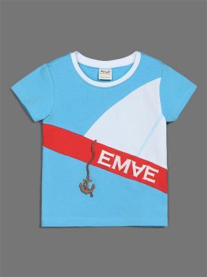 Футболка ЕМАЕ. Цвет: голубой