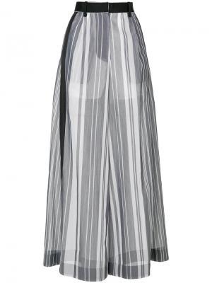 Полупрозрачные брюки-палаццо Sacai. Цвет: серый