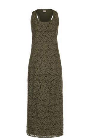 Кружевное платье-макси без рукавов Deha. Цвет: хаки