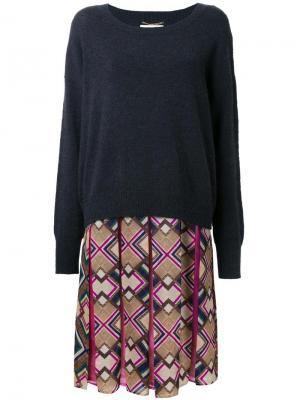 Платье с юбкой в складку узором Muveil. Цвет: чёрный