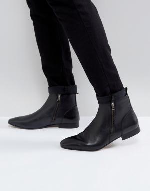 KG Kurt Geiger Черные кожаные ботинки с молниями By. Цвет: черный