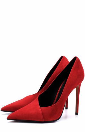 Замшевые туфли на шпильке Balmain. Цвет: красный