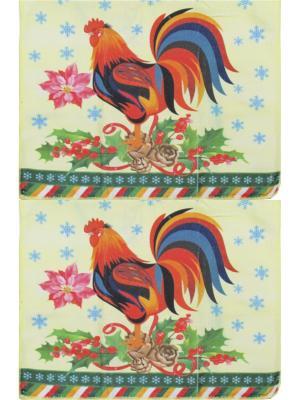 Набор полотенец из микрофибры дизайн Петушок 40*60 - 2 шт. Dorothy's Нome. Цвет: красный, желтый, зеленый, коричневый
