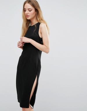 Unique 21 Трикотажное платье с боковыми разрезами. Цвет: черный