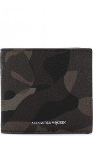 Кожаное портмоне с отделениями для кредитных карт Alexander McQueen. Цвет: зеленый