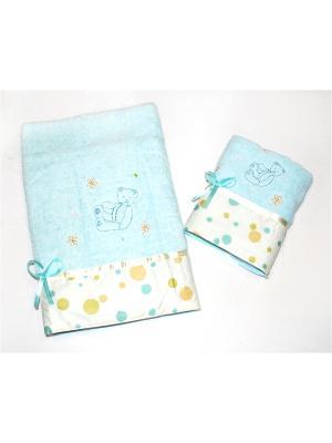 Комплект полотенец 2 предмета, Мишки La Pastel. Цвет: голубой