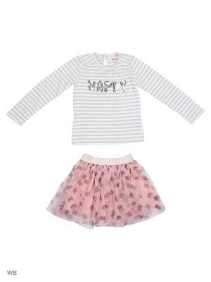 Комплект: футболка, юбка Modis. Цвет: бледно-розовый, серый, белый