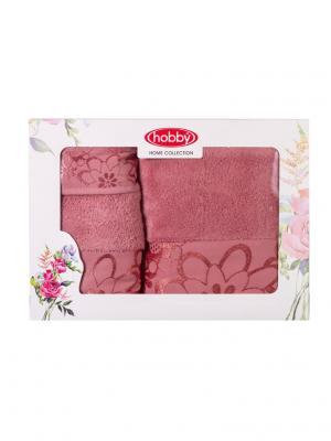 Махровое полотенце в коробке 30x50+50x90+70x140 DORA розовое,100% хлопок HOBBY HOME COLLECTION. Цвет: розовый