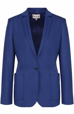 Жакет прямого кроя с накладными карманами и укороченным рукавом Paul&Joe. Цвет: синий