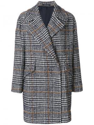 Пальто в ломаную клетку Tagliatore. Цвет: синий