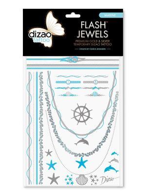 Премиальные золотые и серебряные временные Дизао тату Flash Jewels Принцесса. Dizao. Цвет: черный