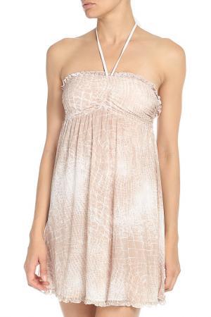 Прилегающее платье на лямках через шею Fisico. Цвет: бежевый