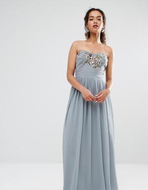 Maya Petite Платье-бандо макси с вышивкой. Цвет: серый