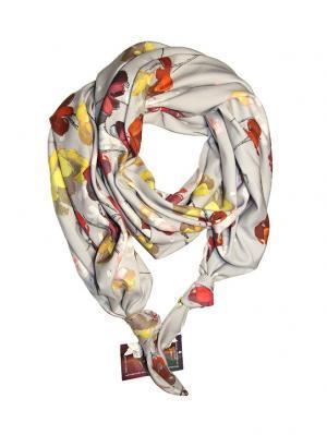 Двойной шелковистый шарф-долька с узелками; серия Апрель Оланж Ассорти. Цвет: светло-серый, красный, светло-желтый