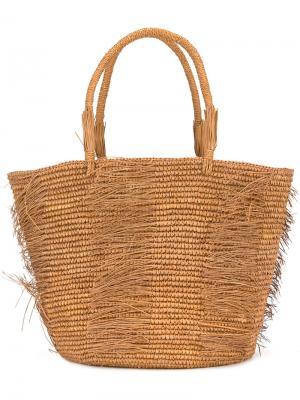 Layered straw tote Sensi Studio. Цвет: коричневый