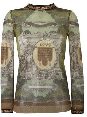 Прозрачный свитер с графическим принтом Jean Paul Gaultier Vintage. Цвет: многоцветный