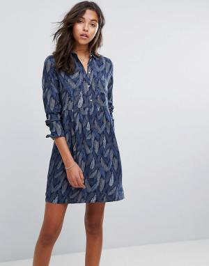 Esprit Платье на пуговицах. Цвет: мульти