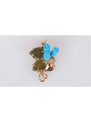 Кулон Бирюза-нефрит Lotus Jewelry. Цвет: золотистый, зеленый, бирюзовый