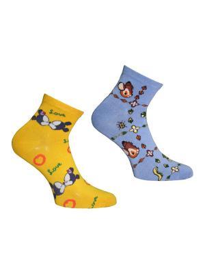 Носки 2 пары Master Socks. Цвет: желтый, голубой