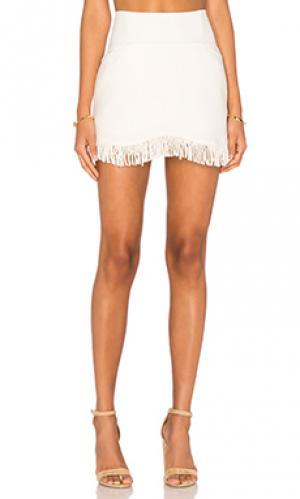 Короткая юбка с бахромой Lucca Couture. Цвет: ivory