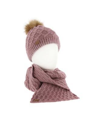 Шапка с шарфом HERMAN. Цвет: розовый