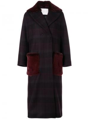 Двубортное пальто в клетку Giada Benincasa. Цвет: красный