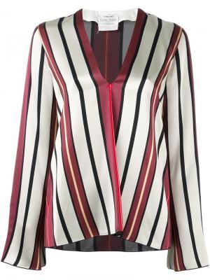 Блузка в полоску с V-образным вырезом Forte. Цвет: телесный