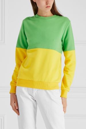 Хлопковый свитшот BLANK.MOSCOW. Цвет: зеленый, желтый