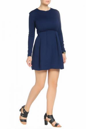 Платье с длинными рукавами, юбка в складку Max Mara. Цвет: синий