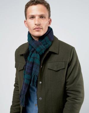 Glen Lossie Зеленый шарф в шотландскую клетку из овечьей шерсти Blackw. Цвет: зеленый