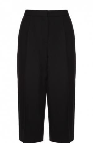 Укороченные брюки прямого кроя с шелковыми лампасами Valentino. Цвет: черный
