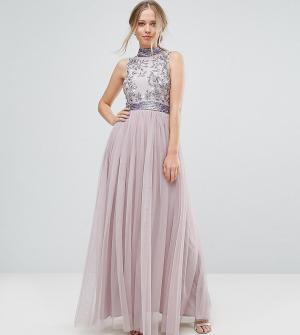 Amelia Rose Платье макси с тюлевой юбкой. Цвет: фиолетовый