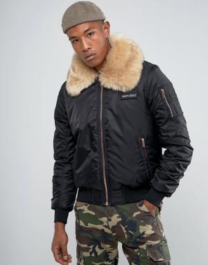 Night Addict Куртка с воротником из искусственного меха и молниями цвета розового з. Цвет: черный