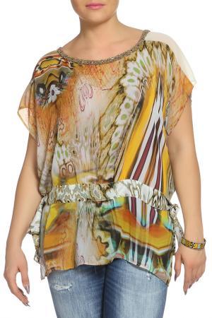 Блуза XS MILANO. Цвет: оранжевый, зеленый