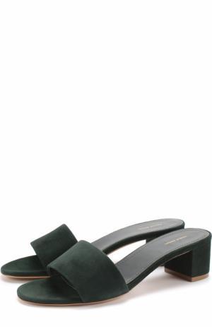 Замшевые сабо на устойчивом каблуке Mansur Gavriel. Цвет: темно-зеленый